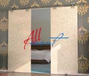 стеклянная откатная дверь с рисунком